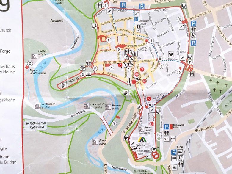 ローテンブルクの城壁歩き地図